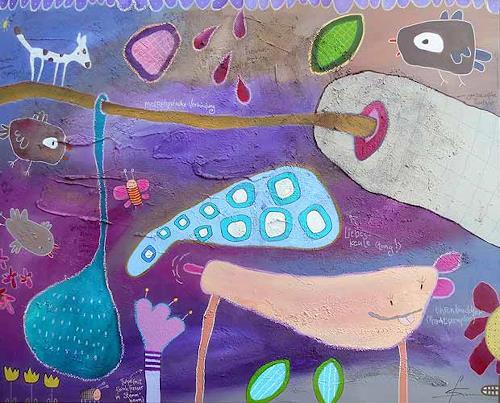 Franziska Schmalzl, Endlich engagierte Mathilde für ihre Liebesangelegenheiten einen professionellen Ohrenknuddler, Animals, Symbol, Primitive Art/Naive Art, Expressionism