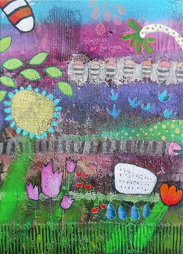 Franziska Schmalzl, Die entlaufene Kobra entpuppte sich schließlich als der gut genährte Regenwurm Erwin, Landscapes, Animals, Primitive Art/Naive Art