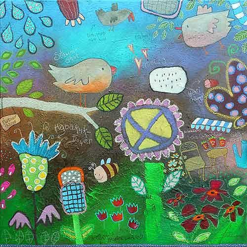 Franziska Schmalzl, Lazarus hatte die Hoffnung schon aufgegeben - da fand er seine Liebe auf den zweiten Blick, Animals: Air, Landscapes: Spring, Primitive Art/Naive Art
