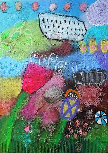 Franziska Schmalzl, Flora Banditos kriegt Besuch von Raupen-Rudi, Landscapes: Spring, Plants: Flowers, Primitive Art/Naive Art