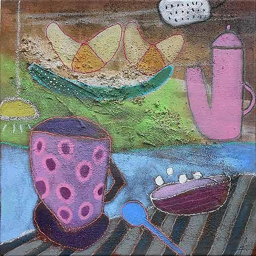 Franziska Schmalzl, Guten Morgen, Darling - schön, dass du lebst!, Still life, Primitive Art/Naive Art