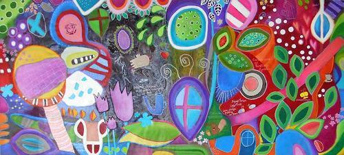 Franziska Schmalzl, Dr. Zweisteins Ansicht seines englischen  Gartens nach dem irrtümlichen Verzehr von halluzinogenen P, Burlesque, Plants, Primitive Art/Naive Art