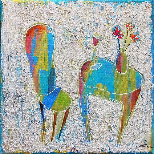 Franziska Schmalzl, Hinsetzen und glücklich sein!, Emotions: Safety, Interiors: Rooms, Primitive Art/Naive Art, Abstract Expressionism