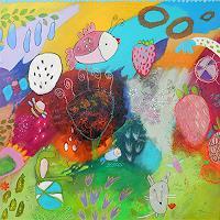 Franziska-Schmalzl-Plants-Flowers-Animals-Air-Modern-Age-Primitive-Art-Naive-Art