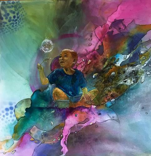 Ursi Goetz, Auf Wolke 7, People: Children, Abstract art, Happening, Expressionism