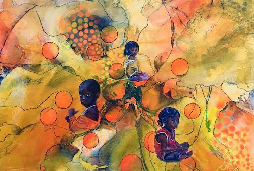 Ursi Goetz, Wärme, People: Children, Action Painting, Expressionism
