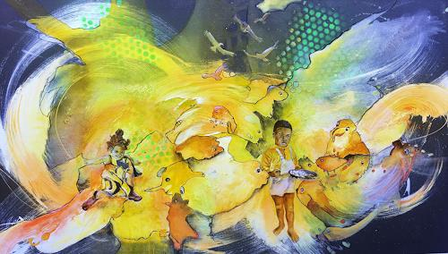 Ursi Goetz, Tagträumen l, People: Children, Abstract art, Action Painting