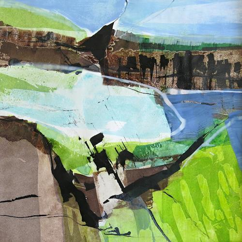 Renate Migas, first green, Landscapes: Spring, Poetry, Contemporary Art, Expressionism