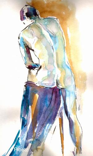 Elena Ploetz, Male Nude in Blue, Erotic motifs: Male nudes, People: Men, Expressionism