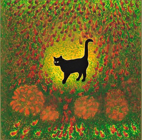 Hans Rüttimann, Katze im Paradiesgarten (Miniatur), Animals: Land, Surrealism