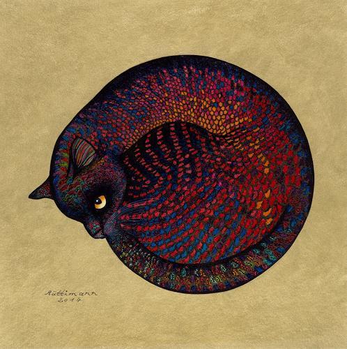 Hans Rüttimann, Leuchtkatze, Animals: Land, Surrealism, Expressionism