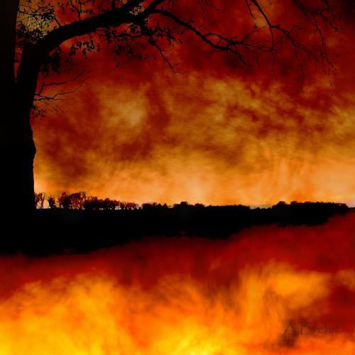 Anke Brehm, Die Erde brennt, Fantasy, Landscapes, Photo-Realism, Expressionism