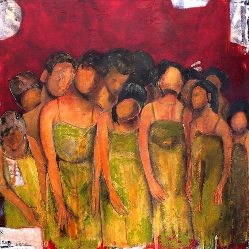 Frauke Klinkforth, Zusammen, People, Emotions: Safety, Contemporary Art, Abstract Expressionism