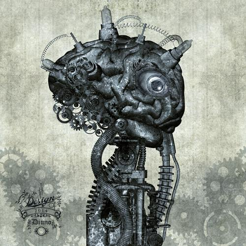 diuno, Porträt eines antiken Cyborg, Fantasy, Abstract art, Post-Surrealism, Abstract Expressionism