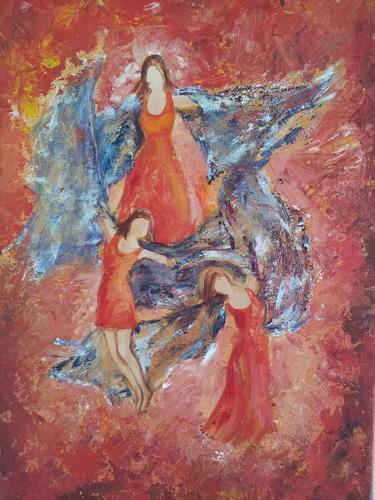 Elke Hildegard Qual, Tänzerinnen, People: Group, Neue Sachlichkeit