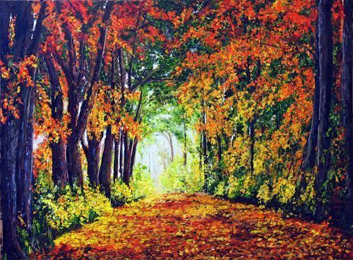 Ulrich Herren, 554# Herbstpfad, Landscapes, Impressionism, Expressionism