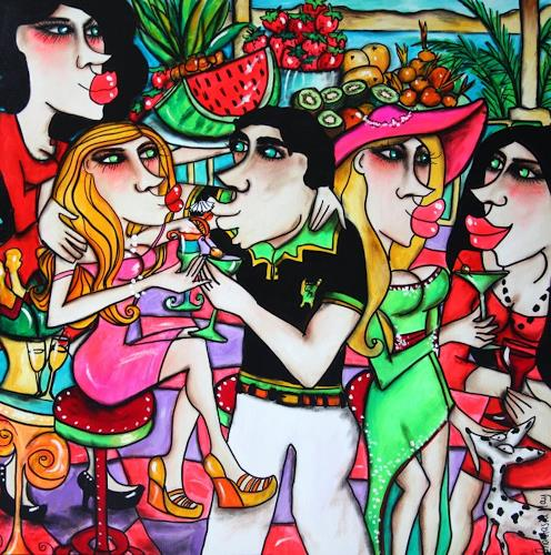Anastasia May, Cocktail Party, People: Faces, Parties/Celebrations, Pop-Art, Expressionism