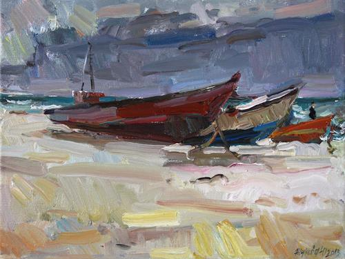 Juliya Zhukova, Boats, Landscapes: Sea/Ocean, The world of work, Impressionism, Expressionism