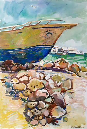 Juliya Zhukova, Old boat, Landscapes: Sea/Ocean, Landscapes: Tropics, Post-Impressionism