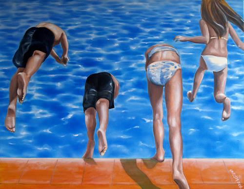 Christa Mayer, hinein ins leben, Game, People: Children, New Figurative Art, Expressionism