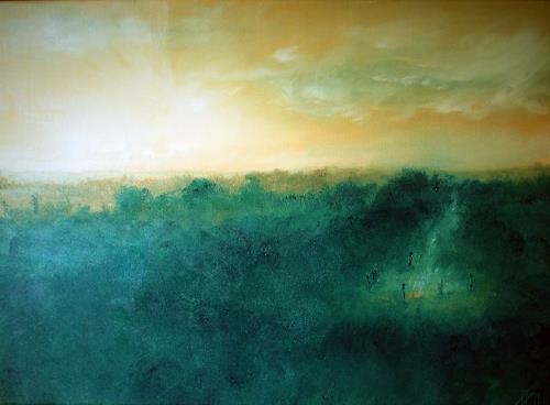 Henri Lehmann, Das Treffen, Landscapes, People, Contemporary Art, Expressionism