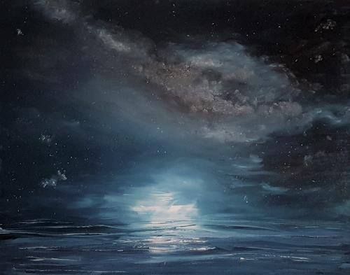 Henri Lehmann, Milky way with calm sea, Landscapes: Sea/Ocean, Nature: Water, Contemporary Art, Expressionism