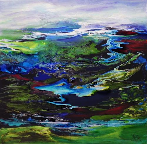 Marion Bellebna, Fjord I, Landscapes, Nature, Contemporary Art, Expressionism