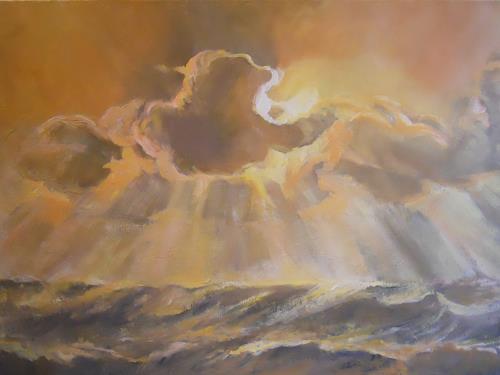 Elisabeth Ksoll, Wolkensturm, Landscapes: Sea/Ocean, Nature, Naturalism