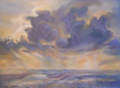 Elisabeth Ksoll, Wolkensturm, Landscapes: Sea/Ocean, Emotions, Expressive Realism