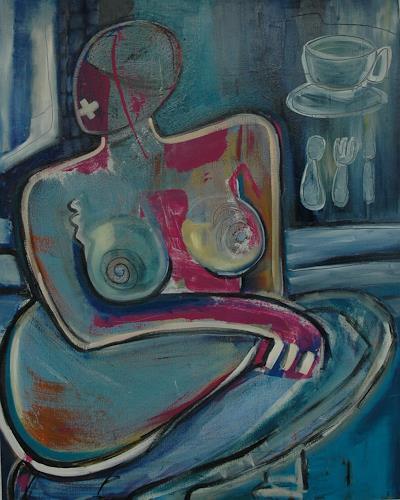 Gabriela Arellano, Frau in Blau, People: Women, Abstract Expressionism