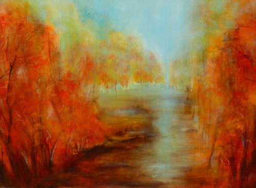 Angelika Frank, Herbst am See, Landscapes: Autumn, Abstract Art, Expressionism