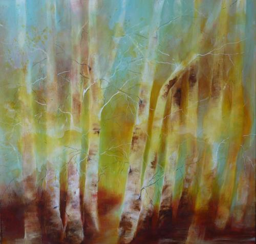 Angelika Frank, Birkenwald II, Landscapes, Plants: Trees, Abstract Art, Expressionism