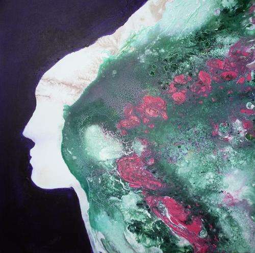 Angelika Frank, Gesicht mit Rosen, Abstract art, Abstract Art
