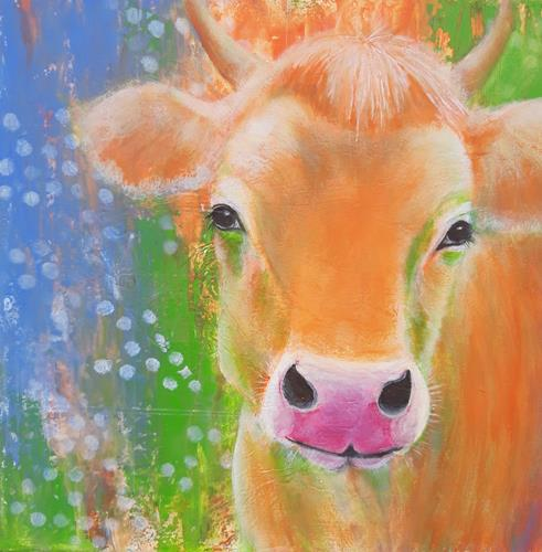 Angelika Frank, Kuh Emilie, Abstract art, Animals: Land, Abstract Art, Expressionism