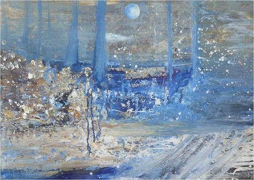 ReMara, Wintermondnacht, Landscapes, Fantasy, Contemporary Art, Expressionism