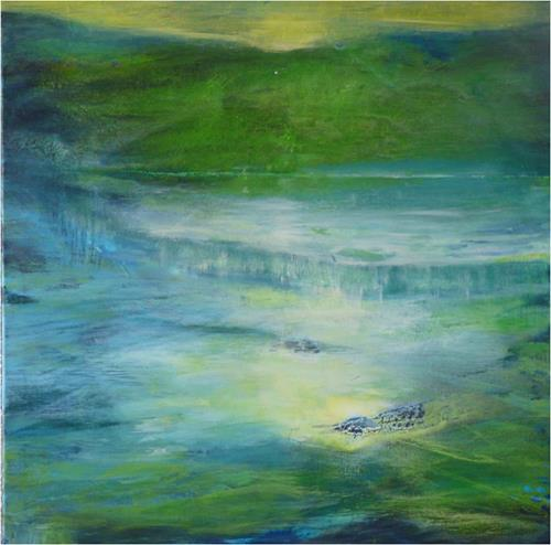 ReMara, Im großen Grün, Landscapes: Sea/Ocean, Poetry, Contemporary Art, Expressionism