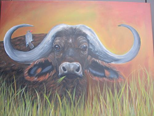 Erna Ryter, im hohen Gras, Animals: Air, Naturalism