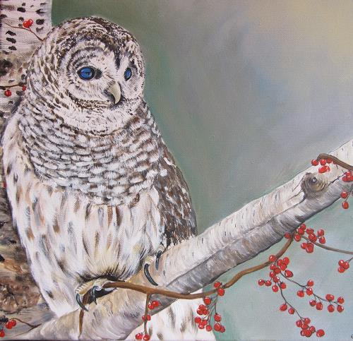 Erna Ryter, Streifeneule, Animals: Land, Naturalism, Abstract Expressionism