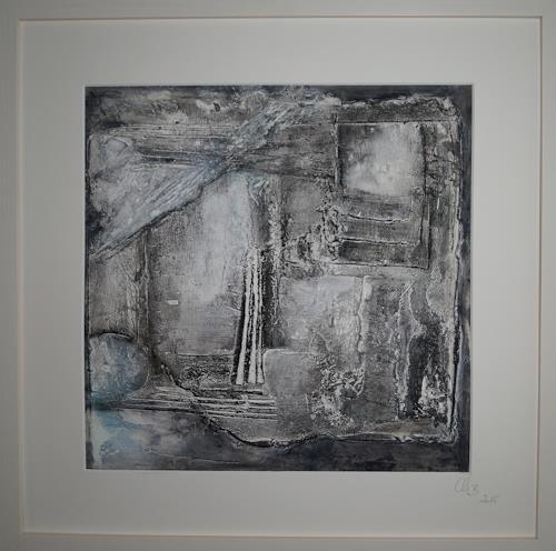 Christel Bormann, verfallene Hütte, Serie Ölfarbe+Pastellstifte 2, Abstract art, Abstract Art