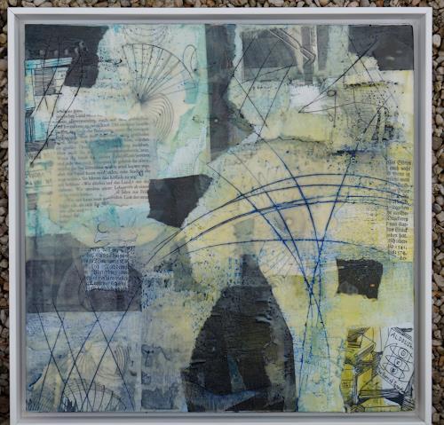Christel Bormann, Papiercollage, Wachs, Tusche und Pigmente in Öl auf Malkarton, Abstract art, Abstract Art