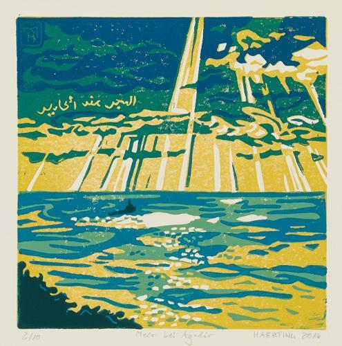 Matthias Haerting, Meer bei Agadir, Landscapes: Sea/Ocean, Modern Age, Expressionism