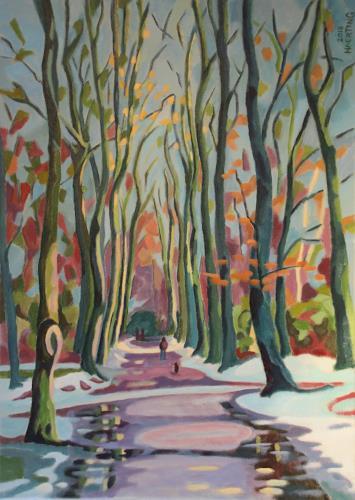 Matthias Haerting, Buchenallee (Speckenbütteler Park), Landscapes: Winter, Plants: Trees, Modern Age, Expressionism