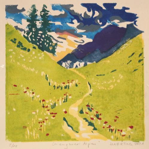 Matthias Haerting, Chiemgauer Alpen, Landscapes: Mountains, Landscapes: Summer, Modern Age, Expressionism