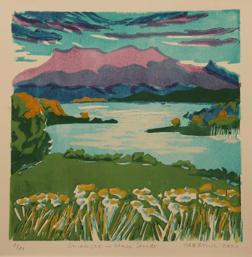 Matthias Haerting, Chiemsee - blaue Stunde, Landscapes: Mountains, Nature: Water, Modern Age