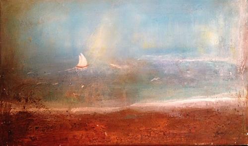 Katharina Frei-Boos, Wenn der Wind bläst setze die Segel, Landscapes: Sea/Ocean, Leisure, Contemporary Art, Expressionism
