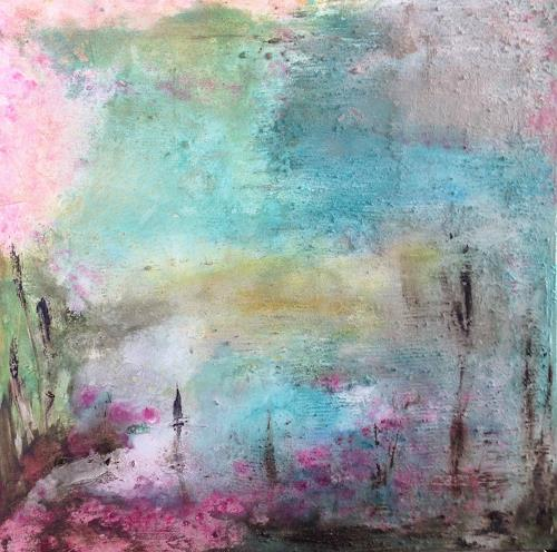 Katharina Frei-Boos, MORGENS AM SEEROSENTEICH, Abstract art, Landscapes: Sea/Ocean, Contemporary Art, Expressionism
