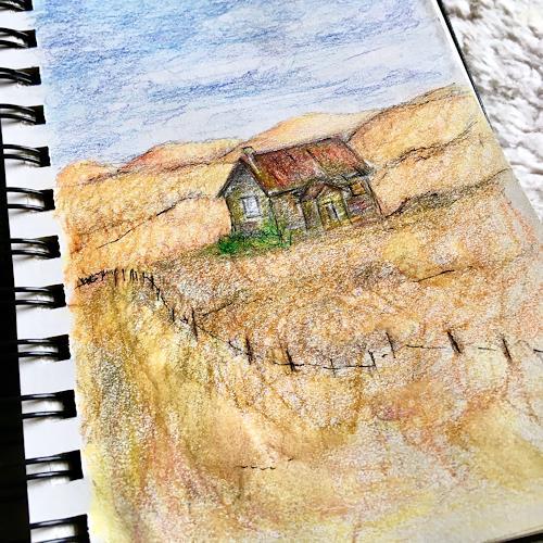 Katharina Frei-Boos, Sketchbook Sketch, Landscapes, Expressive Realism