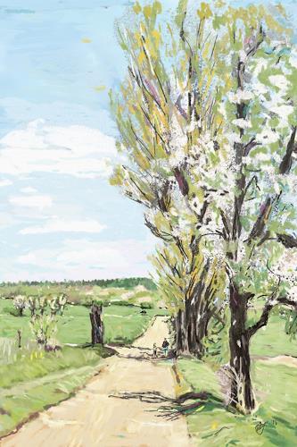 Mandy Tabatt, Der Weg in die Windlücke, Landscapes: Spring, Landscapes: Plains, Contemporary Art, Expressionism