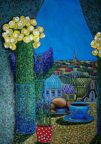 AlesyavonMeer, La Cafe de Paris, Still life, Fantasy, Expressionism
