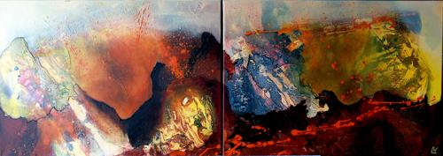 Maria und Wolfgang Liedermann, Vulkan 3, Abstract art, Landscapes: Mountains, Abstract Expressionism
